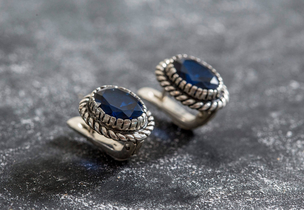 Blue Sapphire Earrings, Created Sapphire, Vintage Earrings, Blue Sapphire, Blue Stone, Royal Blue Earrings, Solid Silver Earrings, Sapphire