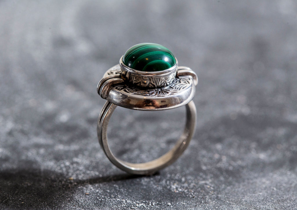Malachite Ring, Natural Malachite, Egyptian Ring, Tribal Ring, Vintage Malachite Ring, Malachite, Vinage Silver Ring, Tribal Silver Ring