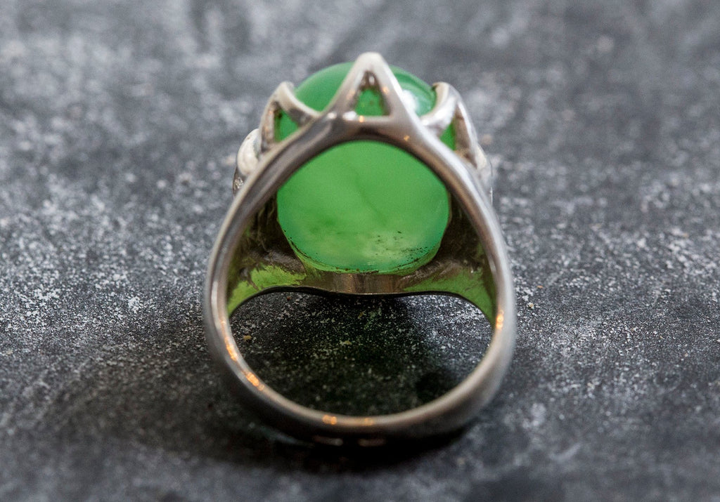 chrysoprase sterling silver rings green stone rings for women chrysoprase ring Silver ring silver rings beautiful rings