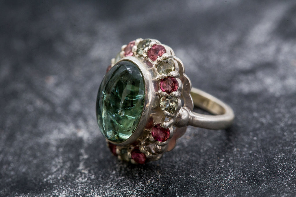 Victorian Green Ring, Tourmaline Ring, Pink Tourmaline, Green Tourmaline, Vintage Ring, October Birthstone, Solid Silver Ring, Tourmaline