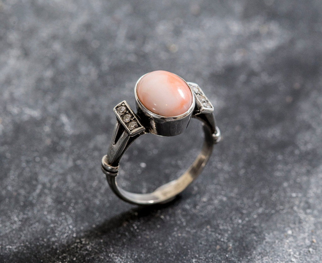 Angel Skin Coral, Large Coral Ring, Natural Coral, March Birthstone, Pink Coral, Vintage Rings, Pink Ring, Vintage Coral Ring, Solid Silver