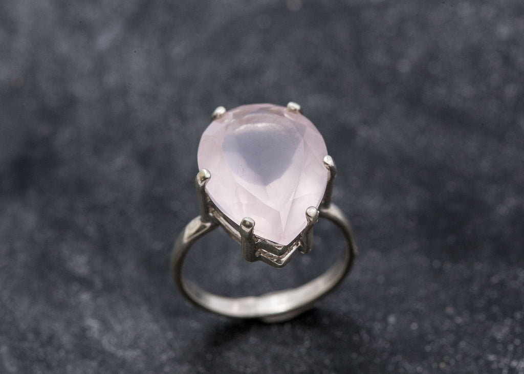 Teardrop Rose Quartz, Rose Quartz Ring, Natural Rose Quartz, Pink Diamond Ring, January Birthstone, Love Ring, Sterling Silver Ring, Pink