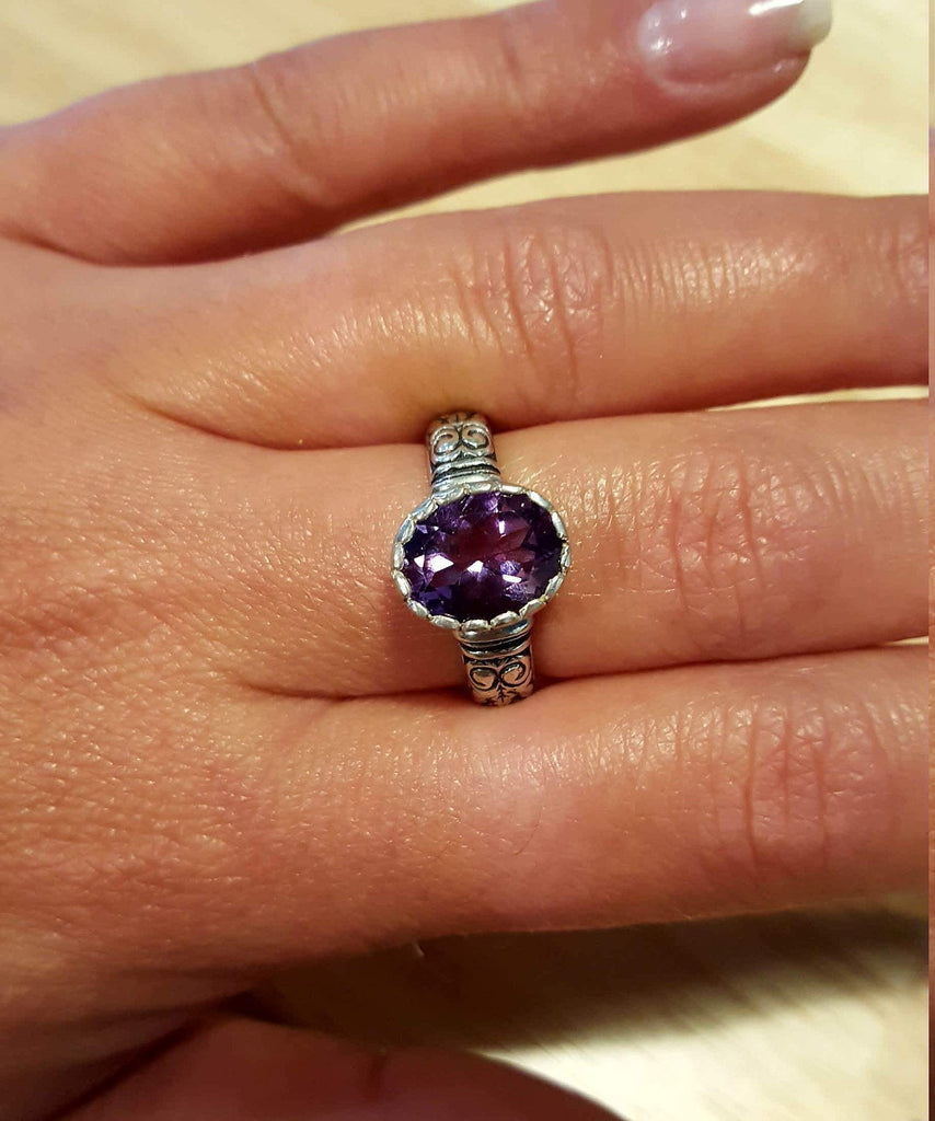 Tribal Amethyst Ring, Amethyst Ring, Natural Amethyst, February Birthstone, Vintage Rings, Purple Amethyst, Solid Silver Ring, Amethyst