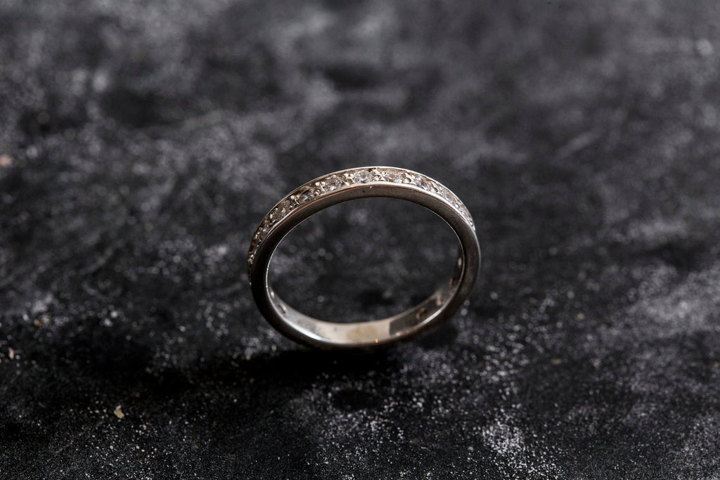 Diamond Eternity Ring, CZ Diamonds, Eternity Ring, Diamond Band, Vintage Band, Silver Band, Wedding Band, Vintage Wedding Ring, Solid Silver
