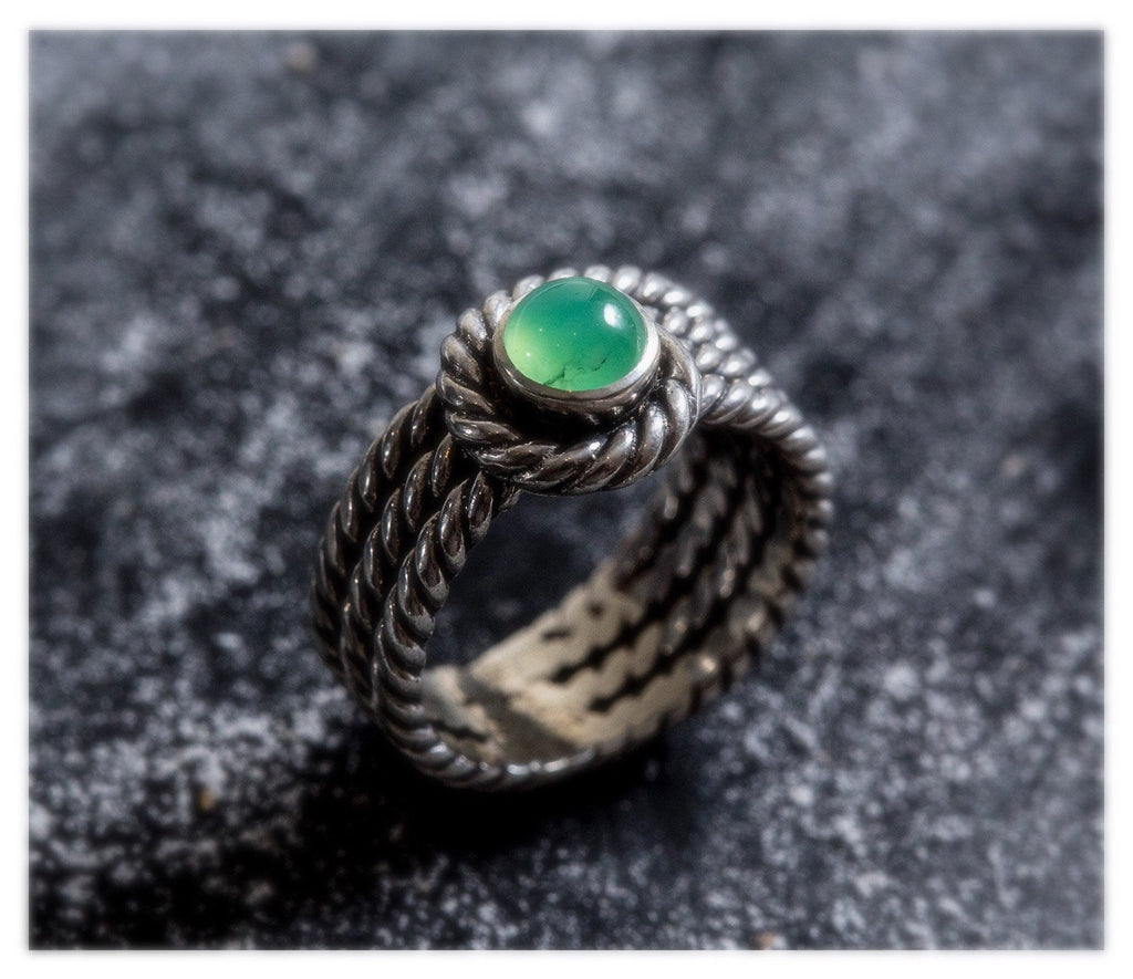 Chrysoprase Ring  Chrysoprase Silver Ring   Natural Chrysoprase Handmade Jewelry  925 Sterling Silver Ring  Silver Band Ring