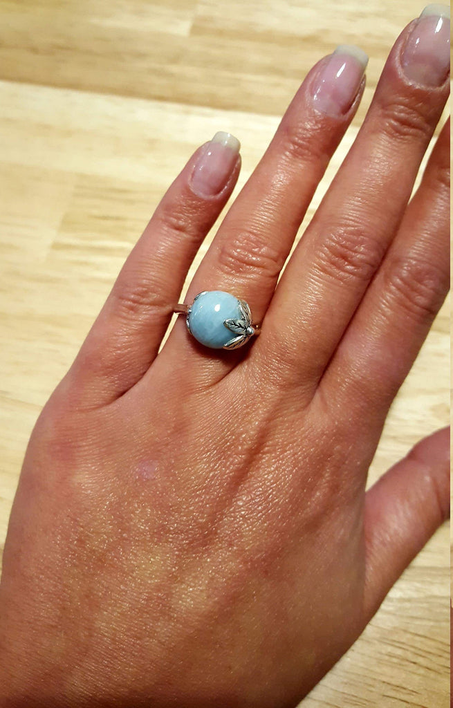 Aquamarine Leaf Ring, Aquamarine Ring, Natural Aquamarine, March Birthstone, Leaf Ring Design, Vintage Rings, Solid Silver Ring, Aquamarine