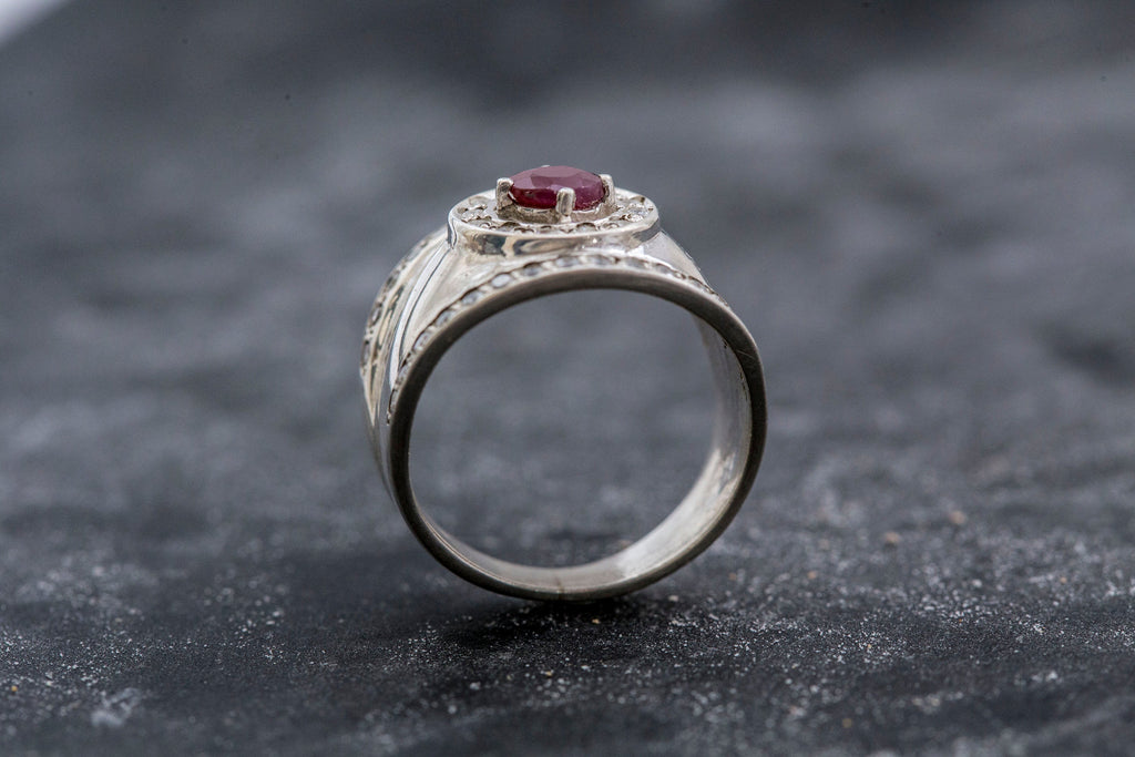 Natural Ruby Ring, July Birthstone Ring, Bezel Ring, Wide Band Ring, Vintage Silver Ring, July Ring, Vintage Rings, Solid Silver Ring, Ruby