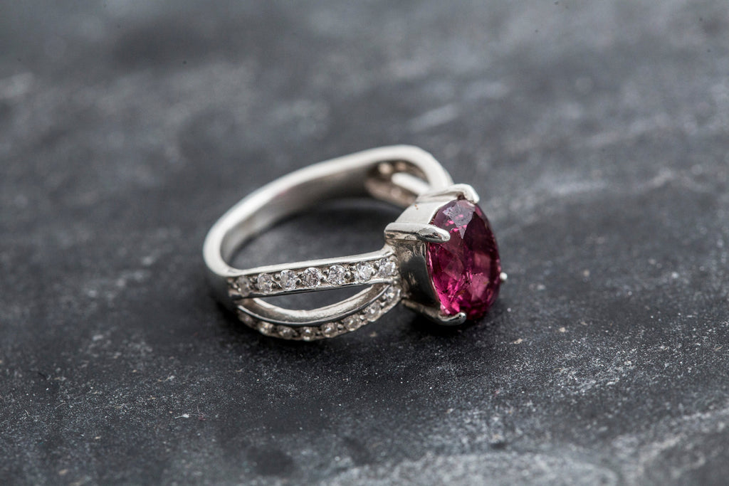 Pink Tourmaline Ring, Tourmaline Ring, Natural Tourmaline, October Birthstone, Promise Rings, Pink Tourmaline, Solid Silver Ring, Tourmaline