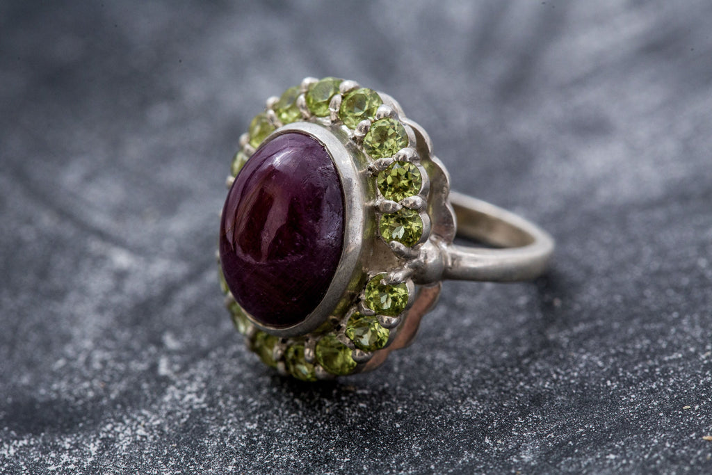 Natural Ruby Ring, Peridot Ring, Ruby Ring, Vintage Rings, July Birthstone, 6 Carats Stone, August Birthstone, Statement Ring, Solid Silver