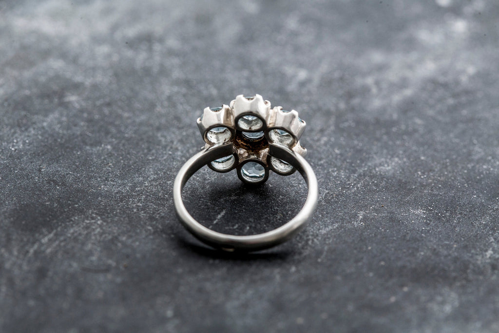 Blue Topaz Ring, Natural Topaz, Real Topaz, Flower Ring, Vintage Ring, Topaz Ring, December Birthstone, Blue Gem, Solid Silver Ring