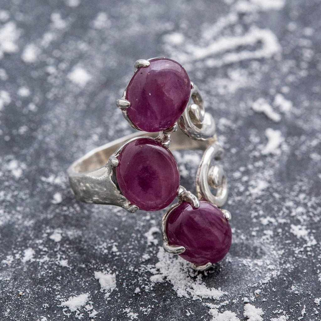 Natural Ruby Ring, Ruby Ring, Vintage Rings, July Birthstone, 9 Carats Ring, 3 stone Ring, Solid Silver, July Ring, Statement Ring, Red Ruby