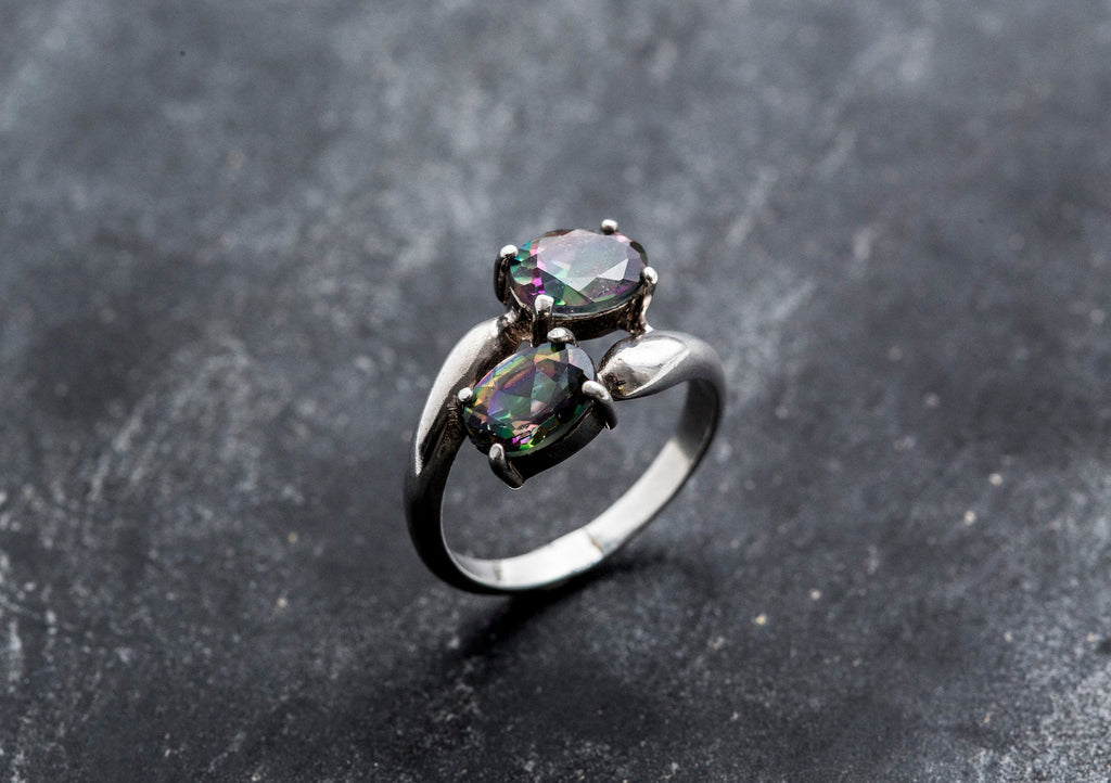 Mystic Topaz Ring, Vintage Rings, Natural Topaz, Vintage Topaz Ring, Mystic Topaz, December Birthstone, December Ring,  Solid Silver Ring