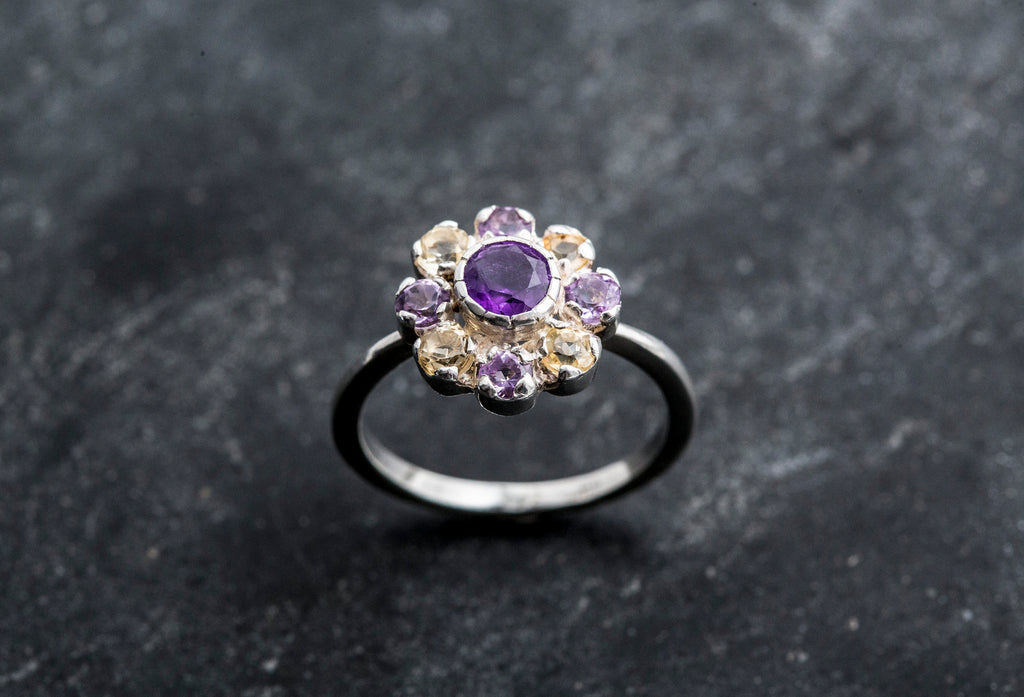 Amethyst Flower Ring, Citrine Ring, Natural Stones, Vintage Ring, Flower Ring, February Birthstone, November Birthstone, Solid Silver Ring