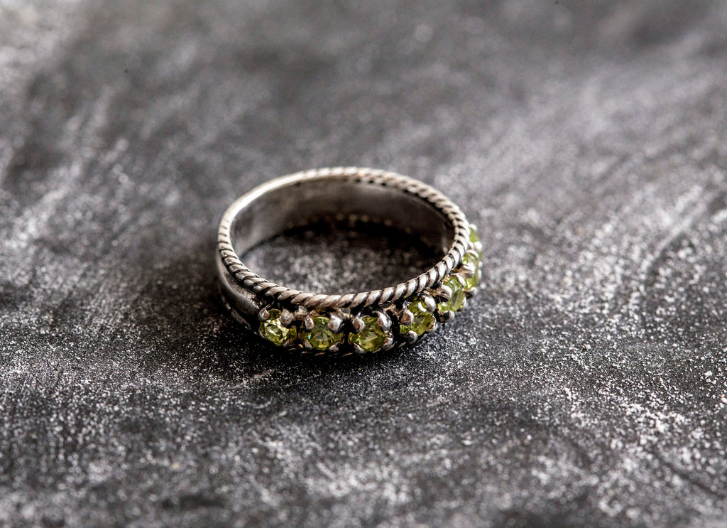 Half Eternity Band, Peridot Band, Natural Peridot, Peridot Ring, August Birthstone, Vintage Ring, Half Eternity Ring, August Ring