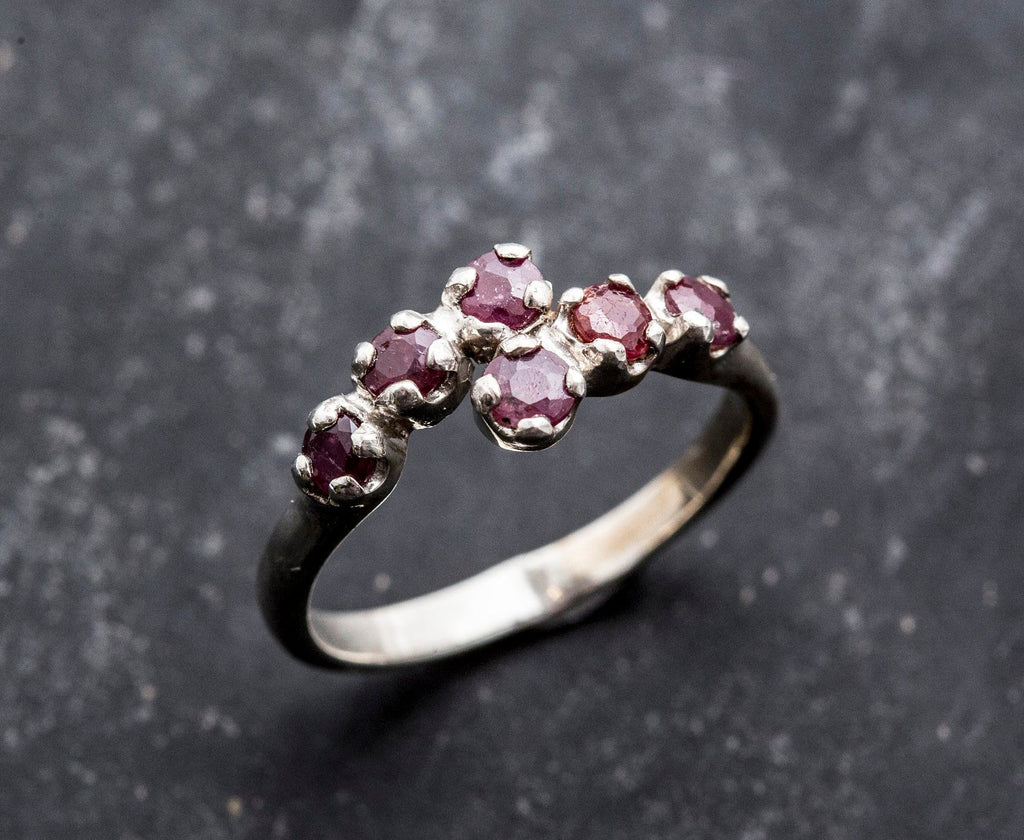 Natural Ruby Ring, Ruby Ring, Vintage Rings, July Birthstone, 6 Stone Ring, Solid Silver, July Ring, Red Ruby, Statement Ring, Real Ruby