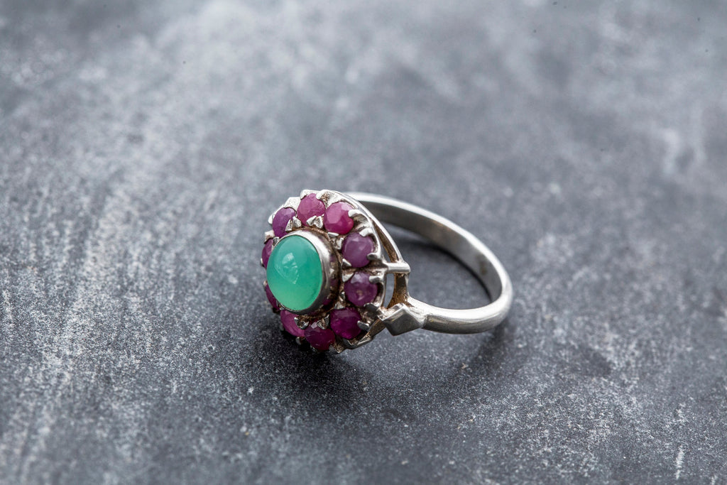 Ruby Ring, Antique Ruby Ring, Natural Ruby, Chrysoprase Ring, Natural Chrysoprase, Australian Chrysoprase, Vintage Rings, Solid Silver Ring