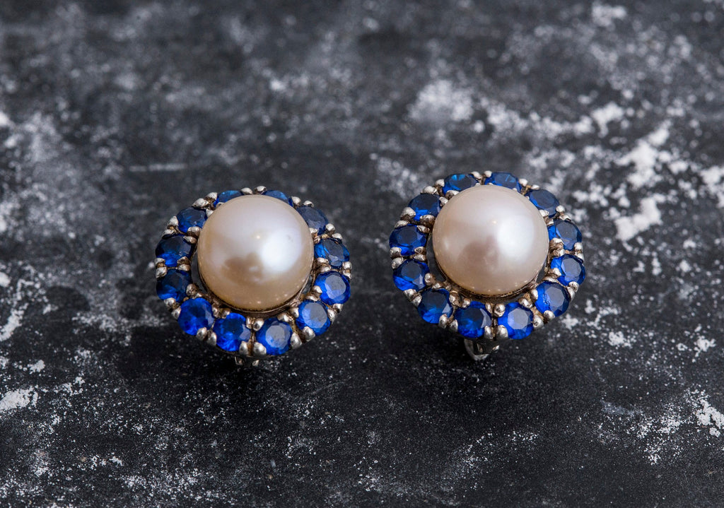 Victorian Pearl Earrings, Natural Pearls, Beige Pearl Earrings, Sapphire Earrings, Created Sapphire, June Birthstone, Silver Earrings, Pearl