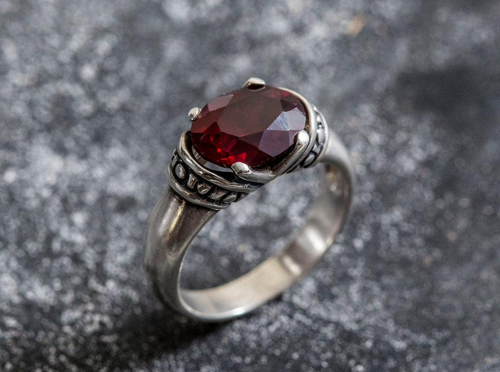Garnet Ring, Natural Garnet, Vintage Rings, Red Ring, Antique Red Ring, Vintage Silver Ring, 3 Carats, Silver Ring, Statement Ring, Garnet
