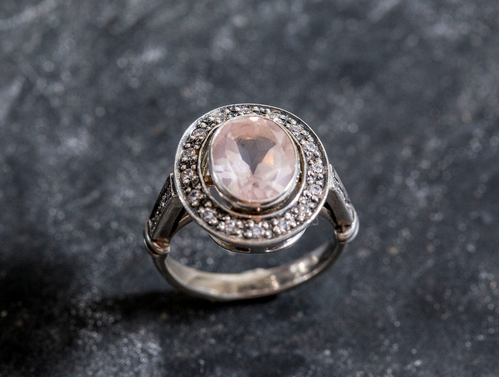 Rose Quartz Ring, Natural Rose Quartz, Vintage Rings, Pink Diamond Ring, January Birthstone, Silver Ring, Pink Diamond, Sterling Silver Ring