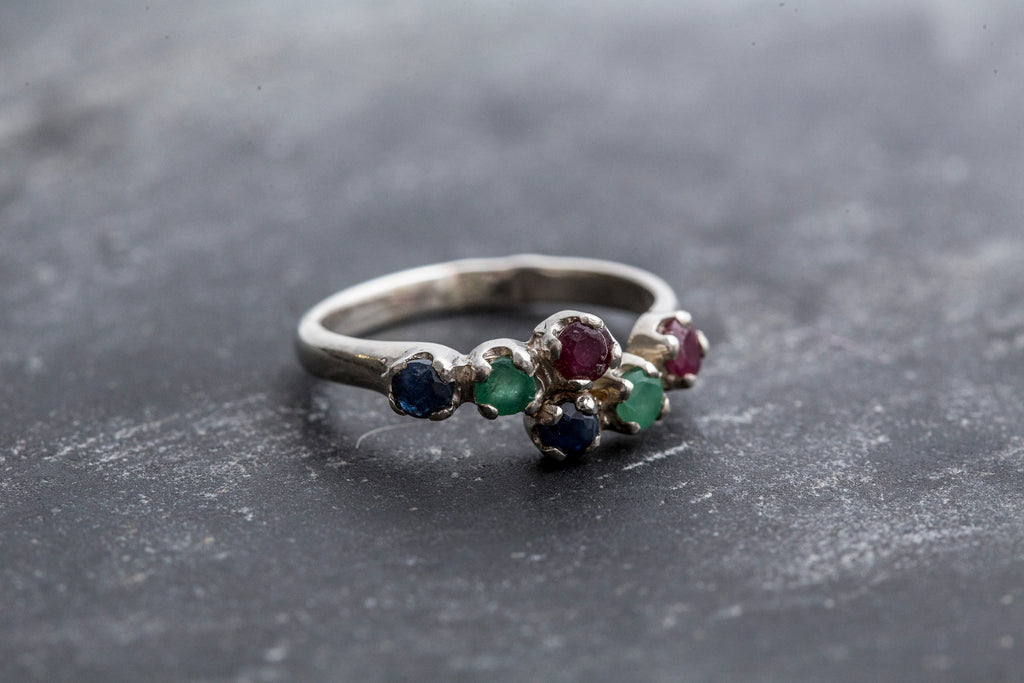 Mulitistone Ring, Emerald Ring, Sapphire Ring, Ruby Ring, Birthstone Ring, Promise Ring, Solid Silver Ring, Vintage Rings, Stackable Ring