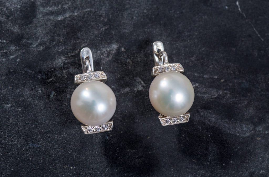 Pearl Earrings, Natural Pearls, White Pearl Earrings, Vintage Earrings, June Birthstone, Silver Earrings, Bridal Earrings, White Pearl,Pearl