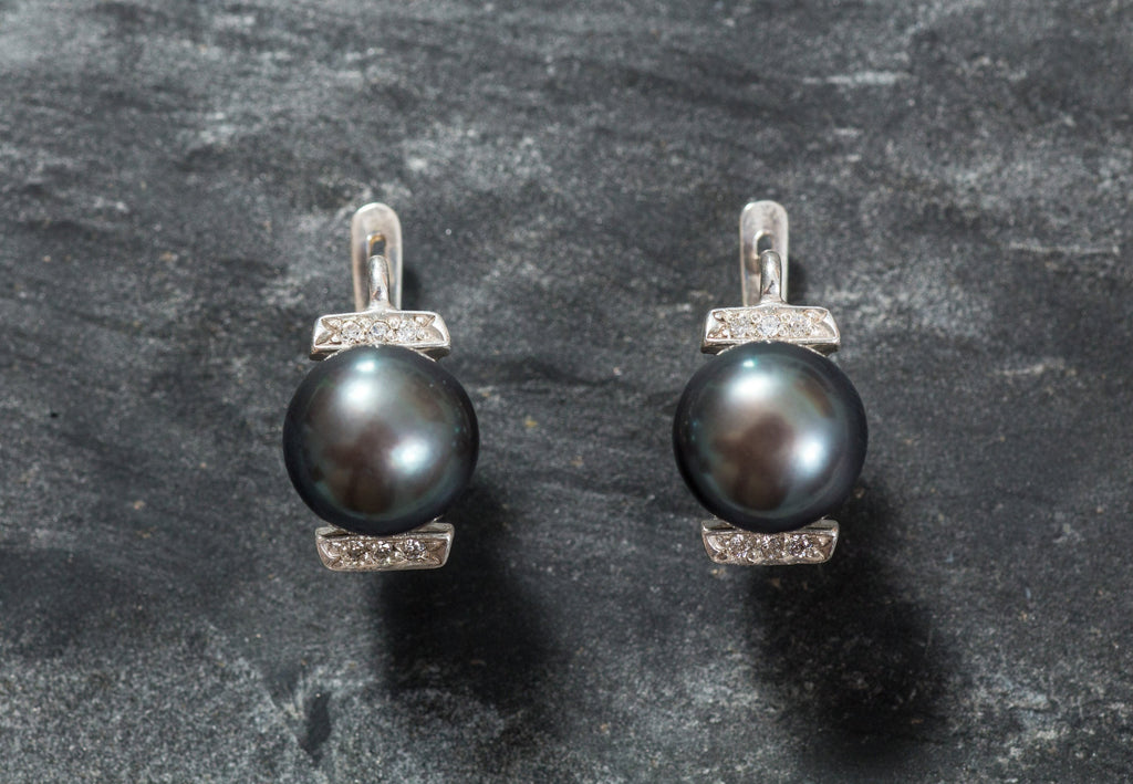 Pearl Earrings, Black Pearl Earrings, Natural Pearl, Black Pearl, June Birthstone, Vintage Earrings, June Earrings, Solid Silver, Pearl