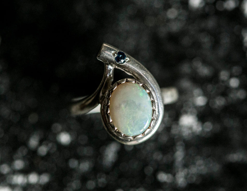 Opal Ring, Natural Opal Ring, Sapphire Ring, Fire Opal Ring, October Birthstone, Antique Opal, Australian Opal Ring, Vintage Silver Ring