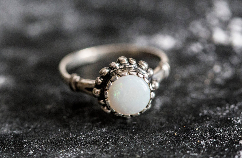Opal Ring, Natural Opal Ring, Australian Opal, Vintage Rings, October Birthstone, Silver Ring, Natural Opal, Birthstone Ring, Flash Opal