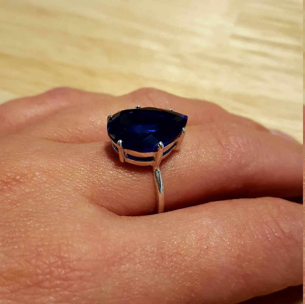 Sapphire Ring, Teardrop Ring, Created Sapphire, Vintage Rings, Vintage Teardrop, Blue Teardrop Ring, Blue Sapphire Ring, Solid Silver Ring