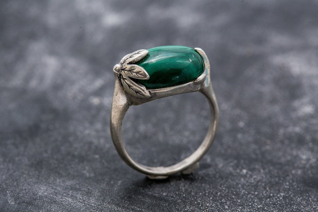Green Leaf Ring, Malachite Ring, Vintage Rings, Natural Malachite, Horizontal Ring, Green Ring, Silver Ring, Real Malachite, Green Malachite