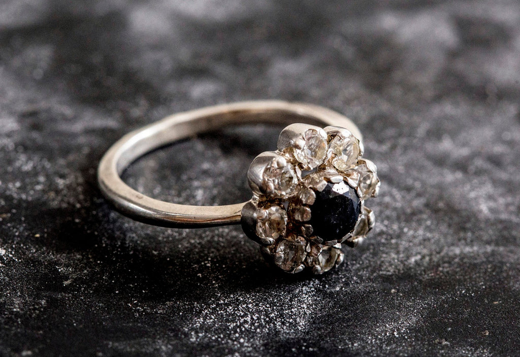 Flower Ring, Natural Sapphire Ring, Vintage Ring, September Birthstone, Natural Topaz Ring, Diamond Ring, Birthstone Ring, Solid Silver Ring