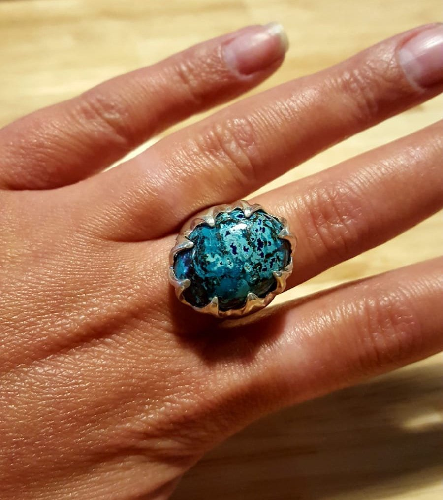 Unique Blue Ring, Natural Chrysocolla, Statement Ring, Vintage Ring, Sagittarius Ring, Large Stone Ring, Blue Ring, Silver Ring, Chrysocolla