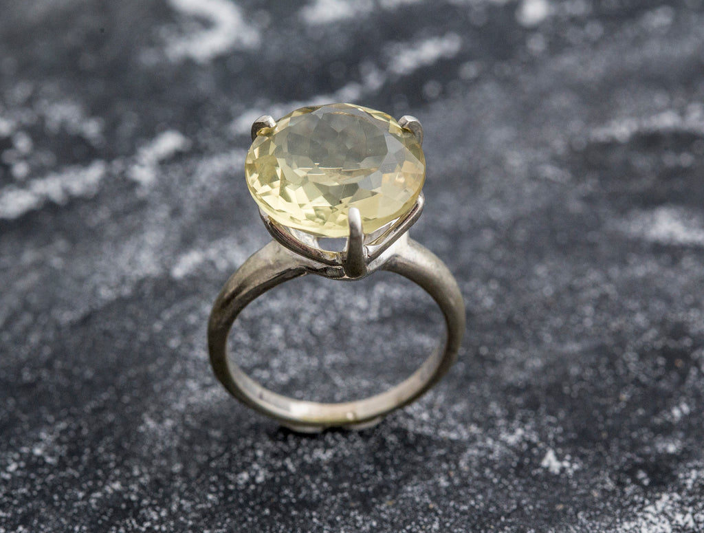 Lemon Quartz Ring, Natural Lemon Quartz, Vintage Rings, Big Stone Ring, Yellow Ring, Antique Ring, Diamond Cut, Solid Silver Rings, Quartz