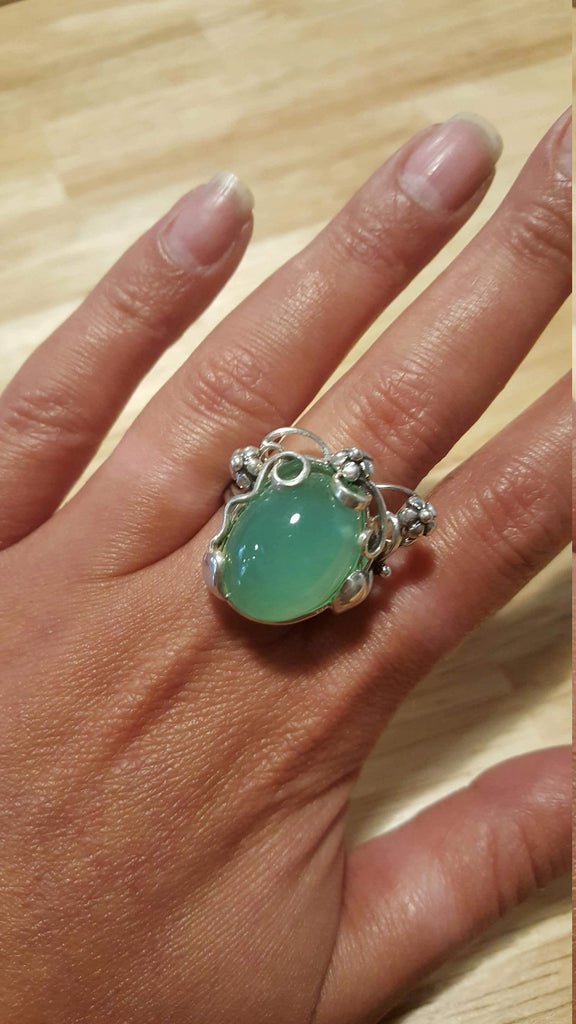 Green Leaf Ring, Chrysoprase Ring, Natural Chrysoprase, May Birthstone, Vintage Rings, Green Ring, Solid Silver Ring, May Ring, Chrysoprase