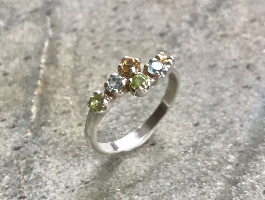 Natural Topaz Ring, Delicate Ring, Birthstones Ring, Mothers Birthstones, Citrine Ring, Peridot Ring, Blue Topaz Ring, Solid Silver Ring