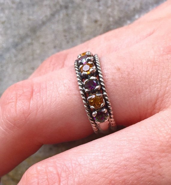 Half Eternity Band, Garnet Band, Natural Garnet, January Ring, Garnet Ring, Half Eternity Ring, January Birthstone, Vintage Silver Band