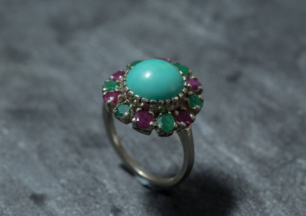 Turquoise Ring, Natural Turquoise, Victorian Ring, Vintage Ring, Emerald Ring, Ruby Ring, December Birthstone, May Birthstone, Solid Silver