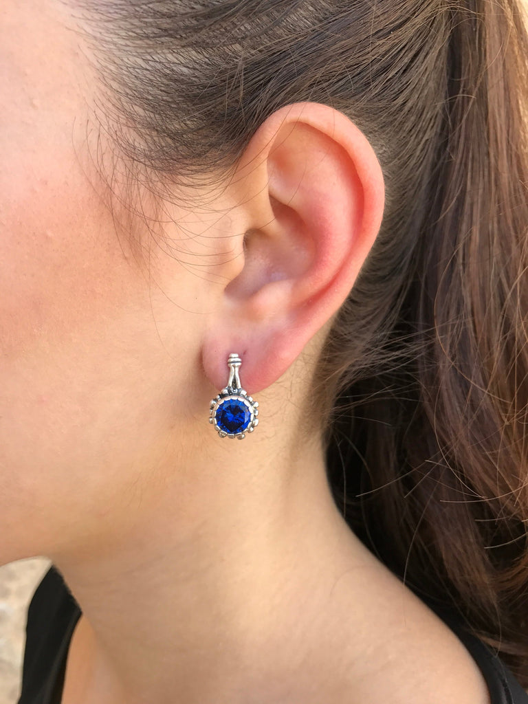 Round Sapphire Earrings, Sapphire Earrings, Blue Sapphire Earrings, Created Sapphire, Silver Earrings, Vintage Earrings, Deep Blue Earrings