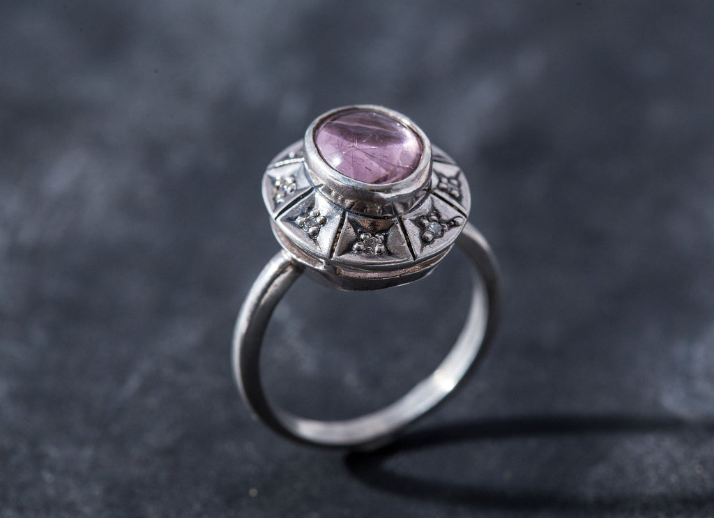 Bohemian Ring, Pink Tourmaline Ring, Natural Tourmaline, Vintage Ring, October Birthstone, Unique Design Ring, Solid Silver Ring, Tourmaline