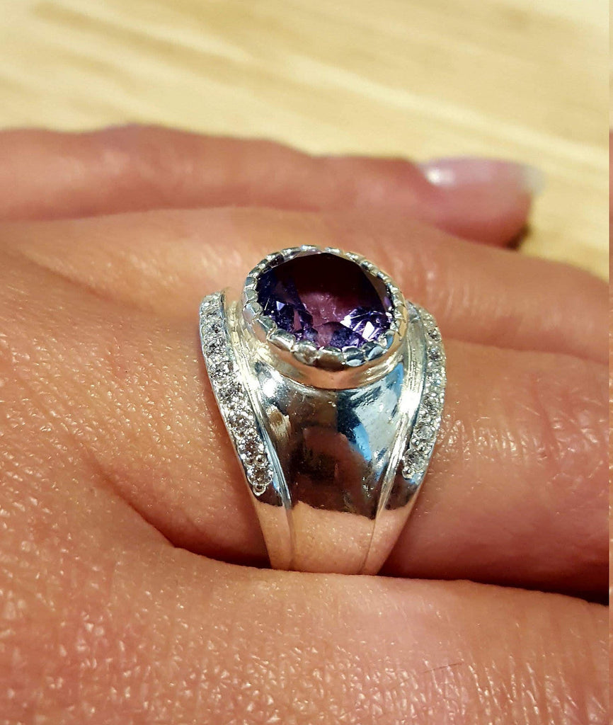 Bezel Amethyst Ring, Amethyst Ring, Natural Amethyst, February Birthstone, Vintage Rings, Wide Ring, February Ring, Silver Ring, Amethyst