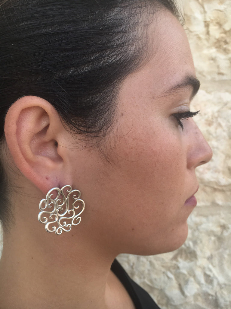 Flower Earrings, Silver Earrings, Large Stud Earrings, Artistic Earrings, Statement Earrings, Swirl Earrings,Artisan Earrings, Stud Earrings