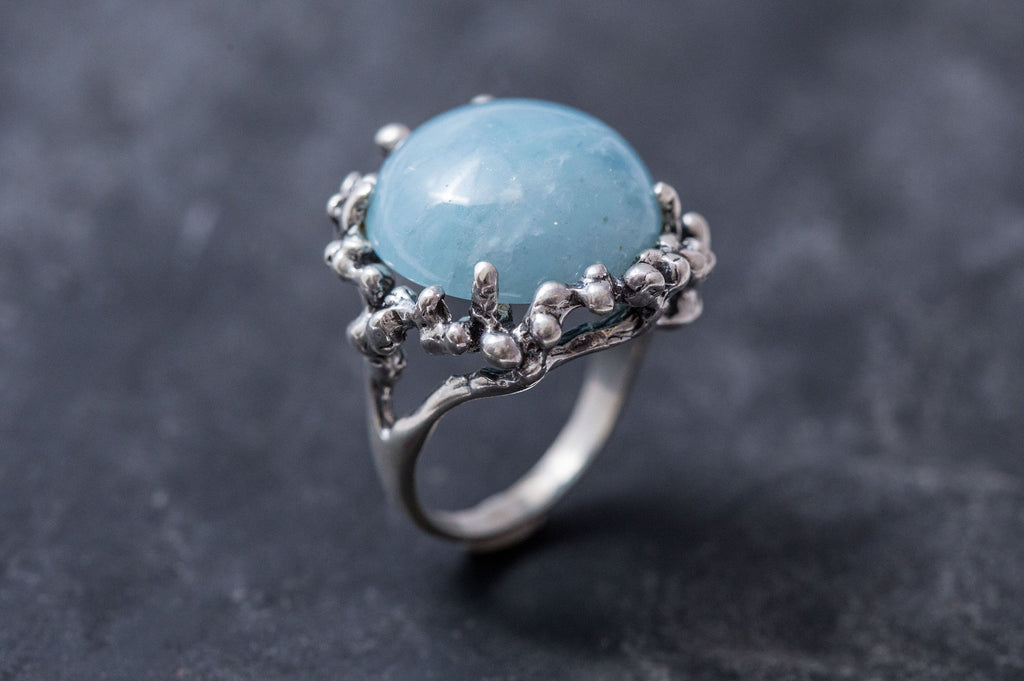 Round Blue Ring, Aquamarine Ring, Natural Aquamarine, March Birthstone, Vintage Rings, Artistic Ring, Large Stone, Solid Silver, Aquamarine