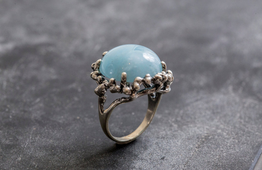 Aquamarine Vintage Ring,925 Silver Ring,Vintage Ring,March Birthstone Ring,Ring For Men/'s,Gift or Her