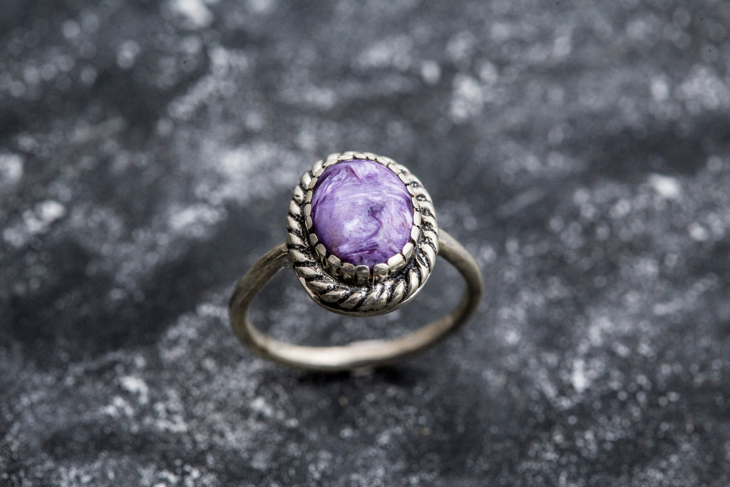 Vintage Ring, Charoite Ring, Natural Charoite, Purple Ring, Scorpio Birthstone, Purple Charoite Ring, Unique Ring, Silver Ring, Charoite