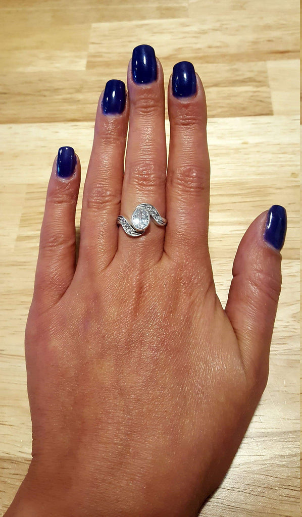 Diamond Promise Ring, Diamond Ring, Created Diamond Ring, Sparkly Ring, Unique Ring, Zircon Ring, Vintage Ring, Solid Silver Ring, Diamond