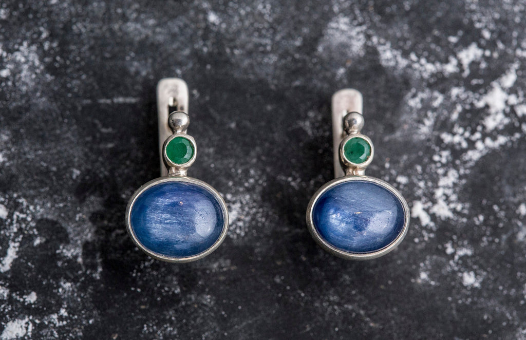 Kyanite Earrings, Natural Kyanite, Vintage Earrings, Natural Emerald, Multistone Earrings, Gemstone Earrings, Solid Silver Earrings, Kyanite
