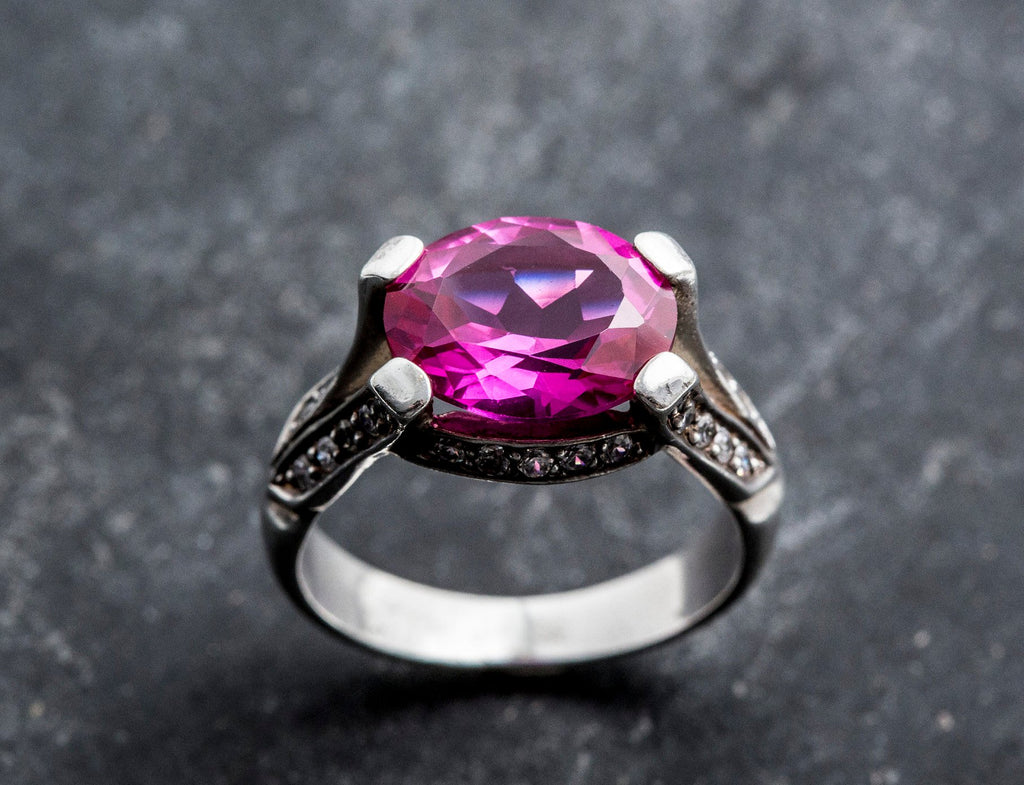 Alexandrite Ring, Created Alexandrite, Large Alexandrite Ring, Large Vintage Ring, Large Pink Ring, Vintage Rings, Solid Silver, Alexandrite
