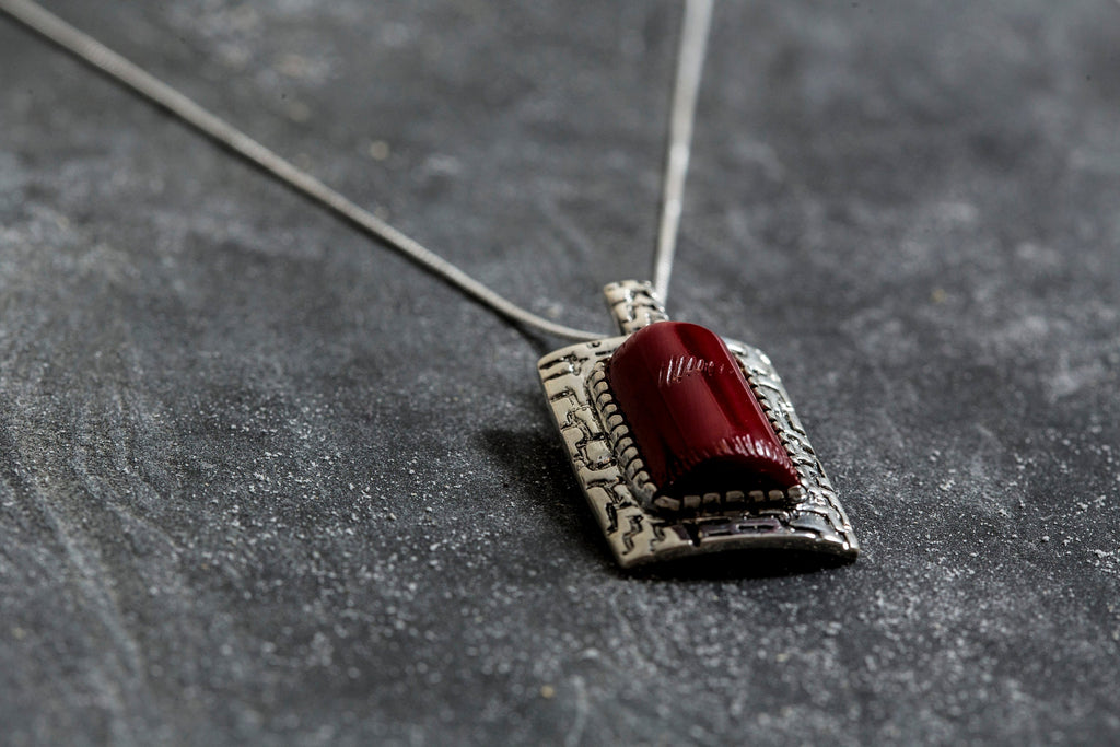 Natural Blood Stone Pendant Red Coral Pendant 18 Sterling silver chain Natural Sterling Silver Bloodstone Coral Pendant Necklace