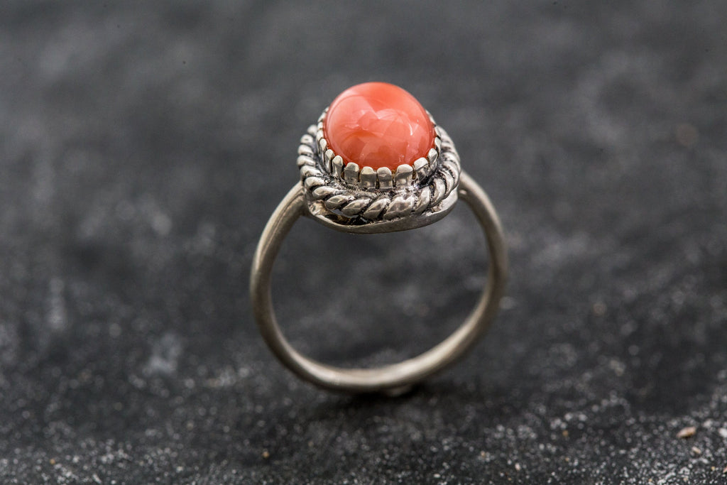 Coral Ring Promise Ring March birthstone Engagement For her Solid Sterling Silver 925K Handmade Natural Stones Coral Ring
