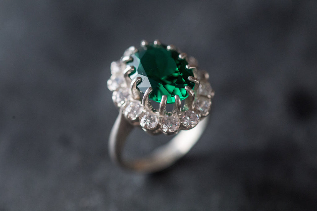 Princess Di Ring, Emerald Ring, Princess Diana Ring, Solid Silver Ring, Anniversary Ring, Emerald Promise Ring, Created Emerald, Emerald